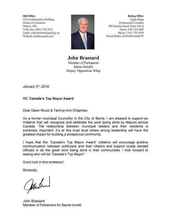 John Brassard Letter