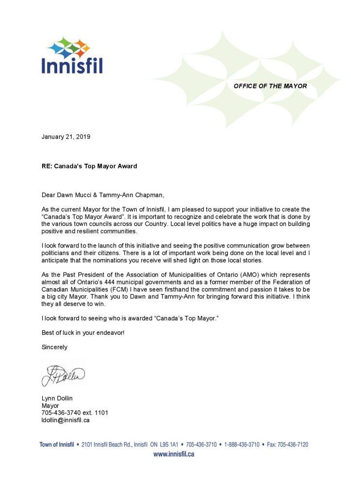 Canada's Top Mayor Award - Lynn Dollin